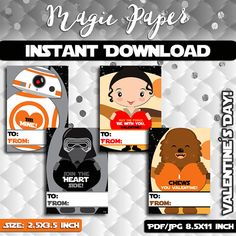 Star Wars Valentines Day Printable Cards. The by MagicPaperStore