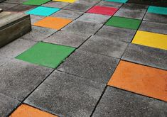 62 DIY Projects to Transform Your Backyard: Colorful patio tiles Ana White, Painted Pavers, Painted Floors, Torches Tiki, Faux Grass, Patio Tiles, Cement Tiles, Diy Fire Pit, Fire Pits