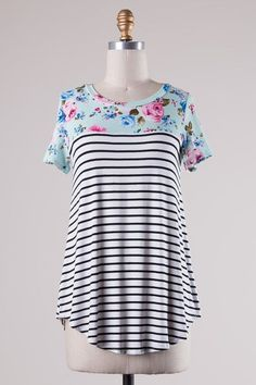 Mint Floral Colorblock And Stripe Tee