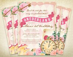 PRINTABLE Onederland First Birthday Party Invitation - Alice in Wonderland Invite