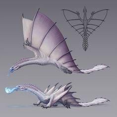 Winter-Wyrm by LukaTrkanjec on DeviantArt Mythical Creatures Art, Alien Creatures, Mythological Creatures, Magical Creatures, Monster Concept Art, Fantasy Monster, Monster Art, Creature Concept Art, Creature Design