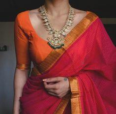 Saree Blouse Neck Designs, Half Saree Designs, Indian Bridal Fashion, Indian Wedding Outfits, Golden Blouse Designs, Lehenga Saree Design, Modern Saree, Simple Sarees, Stylish Sarees