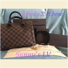 New Louis Speedy 25 Damier Ebene Authentic new Louis Vuitton Speedy 25 Ebene comes with dust bag, box with leather tie, lock with 2 keys, and receipt holder, also cross body strap... Louis Vuitton Bags