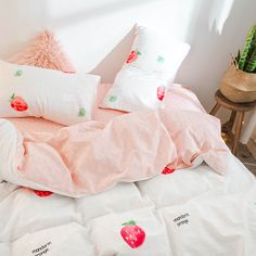 Duvet Cover Bed Strawberry Print Bedding Set Queen 3/4 Pcs Cotton Cover Set  Designer