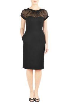 eShakti Women's Custom Styling enabled Illusion yoke ponte sheath dress S-4 Black