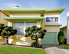Mid-Century Architecture in the Westlake District of Daly City, California. I LOVE this--the colors, the structure and the landscaping. Wonderful!