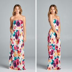 NEW NEW NEW! Head over Heels Floral Maxi Dress - $38 with free ship Empire Waist, Front Pockets, Nice Slinky Fabric Absolutely Gorgeous!  Comes in S-L Comment to order or shop on our website!  Free Shipping Anywhere in the US!