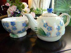 Sweetheart  Hand Painted Stacking Teapot Tea for One Mesa China 4691. $35.00, via Etsy.