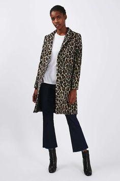 Leopard Print Coat - Topshop