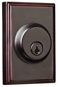 Woodward Single Cylinder Deadbolt with Rosette Bronze Door Knobs, Back Plate, Bronze Finish, Oil Rubbed Bronze, Rosettes, Interior Styling, Door Handles, Home Improvement, Hardware