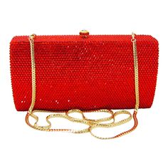 ca9b92806a4 This Anthony David crystal clutch evening purse has a solid metal frame  with a gold electroplated