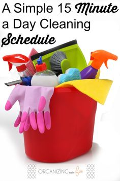 15 minute cleaning schedule   printable cleaning schedule   clean your home in 15 minutes a day!   www.thirtyhandmadedays.com