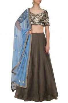 Saumya and Bhavini Modi Shadow Grey and Blue Embroidered Lehenga Set #happyshopping #shopnow #ppus