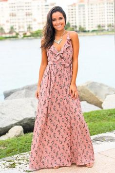 951e6f9edfcf This Dusty Pink Floral Wrap Dress is perfect! Wrap Dress Floral