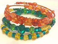 Beaded wrap bangle bracelet inspired by Princess Merida from Disney's Brave on Etsy, $10.00