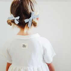 Free Babes and Briar Blue Stripe Pigtail Bow Set. Made in the USA.