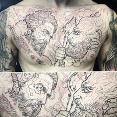 Lessons That Will Get You In The arms of The Man You love Rare Tattoos, Daddy Tattoos, God Tattoos, Tattoos For Guys, Tattoo Zeus, Zues Tattoo, Poseidon Tattoo, Full Chest Tattoos, Chest Piece Tattoos