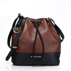 Michael Kors Jules Color-Block Leather Small Coffee Shoulder Bags