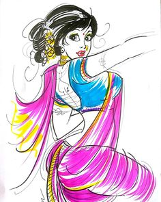 Sexy Painting, Painting & Drawing, Cartoon Girl Drawing, Cartoon Art, Indian Art Gallery, Indian Illustration, Comic Art Girls, Madhubani Painting, India Art