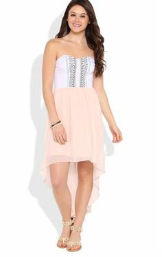 Deb Shops Strapless High Low Dress with Embroidered Bodice $26.25