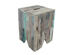 Prahu Box Stool - Funky little stools with hints of original colours and made from salvaged boatwood.
