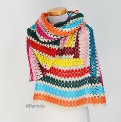 Crochet shawl stripes Q535