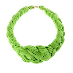 Braided Necklace by ale. Braided Necklace, Diy Necklace, Collar Necklace, Necklace Tutorial, Green Necklace, Necklaces, Textile Jewelry, Fabric Jewelry, Jewelry Crafts