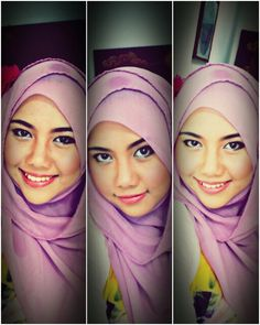 Smiling hijab purple with pink lipstick