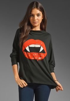WILDFOX COUTURE Vampire Lips Garbage Tee in Knight Black at Revolve Clothing - Free Shipping!