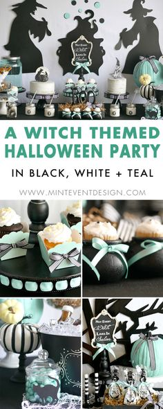 Find out how to re-create this modern witch themed Halloween Party on Mint Event Designl. The theme is based on the Not All Witches Live in Salem chalkboard and features black, white and teal pumpkins. See the entire Halloween styled party on www.minteventdesign.com. #halloween #halloweendecorations #halloweenparty #halloweendecor #pumpkindecor #halloweenideas #halloweenparty #halloweenpartyideas