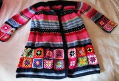Lovely unique swedish hand crocheted cardigan/jacket with granny squares size xxl-plus size