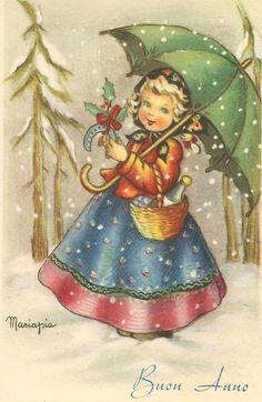 illustratore Mariapia, cartolina per ricorrenza,opaca non/vi. Vintage Christmas Images, Christmas Pictures, Christmas Art, Vintage Pictures, Vintage Images, Christmas Blessings, Decoupage Vintage, Retro Illustration, Vintage Greeting Cards