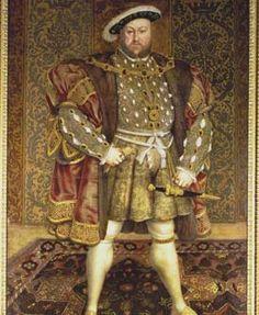 """Retrato de Henrique VIII (Inglaterra). Evidencia a moda masculina do Renascimento através do gibão acolchoado e com uma abertura na frente, onde é visível a bragueta - adorno colocado na zona púbica masculina, símbolo da masculinidade e virilidade-, a simetria do traje com adornos e jóias dispostas segundo um eixo, e a moda dos """"recortes"""", que criavam contrastes de cor e formas/desenhos fantásticos, influenciada pelos mercenários alemães."""