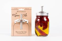 The Mason Tap is a pour spout for any regular mouth mason jar that is made in the USA from high quality stainless steel.