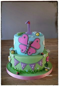 Children's Birthday Cakes - a cute cake with butterfly for a little girl