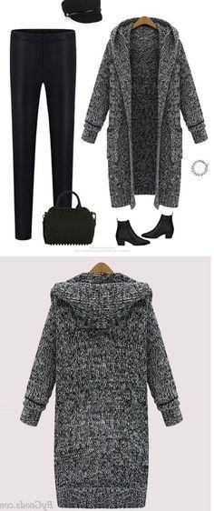 bf1c024760a Kapuzen Revers Strick Lange Strickjacke Pullover Mantel  sweater Cheap  Cardigans