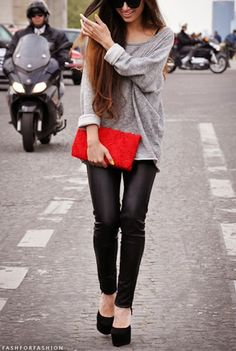 leather skinnies, slouchy gray sweater