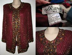 NWT! J KARA Stunning Sequin Beaded Silk Chiffon Tunic Jacket - BURGUNDY Sz Large #EveningCocktailJacket