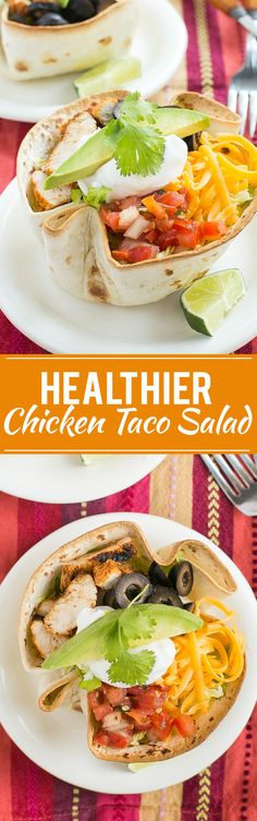 This recipe for healthy chicken taco salad is marinated and grilled chicken with shredded lettuce, creamy cilantro dressing and your favorite taco toppings, all inside a baked tortilla shell. Healthy Chicken Tacos, Healthy Chicken Recipes, Healthy Cooking, Mexican Food Recipes, Healthy Snacks, Grilled Chicken, Dinner Recipes, Healthy Eating, Cooking Recipes