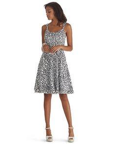 Flirty, Fun, and one of my Favorites! (White House Black Market Sleeveless Foliage Fit & Flare Dress #whbm)