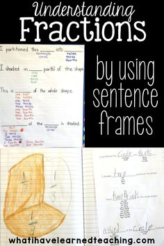 Is math a foreign language to your students? Help students learn the language of math by teaching the vocabulary and sentence frames. Here is an example of how to deepen our understanding of fractions by using sentence frames and specific vocabulary. Grade 6 Math, Teaching Second Grade, Second Grade Math, Third Grade, Teaching Fractions, Math Fractions, Teaching Math, Maths 3e, Math Resources