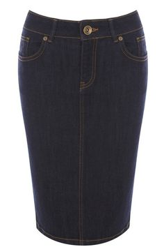 It's all about the denim pencil skirt this season and we love this jeans inspired number. The piece features our classic denim 4 pocket styling and has a concealed zip fly with metallic button fastening.