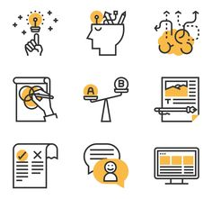Meticulous Icon Style / Yellow shadow - vector icons available in SVG, EPS, PNG, PSD files and Icon Font. Flat Design Icons, Icon Design, Spot Illustration, Shadow Illustration, Cv Inspiration, Work Icon, People Icon, Business Icon, Business Design