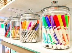 Keep that playroom or craft room organized with simple glass jars for art suppli. - Keep that playroom or craft room organized with simple glass jars for art supplies. Keeps them tidy - Organisation Hacks, Playroom Organization, Organized Playroom, Kid Playroom, Organizing Kids Toys, Office Storage Ideas, House Organization Ideas, Organization Ideas For The Home, Children Playroom