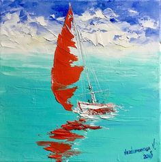 Small Canvas Paintings, Mini Paintings, Seascape Paintings, Your Paintings, Oil Painting On Canvas, Original Paintings, Acrilic Paintings, Sailboat Painting, Easy Drawings