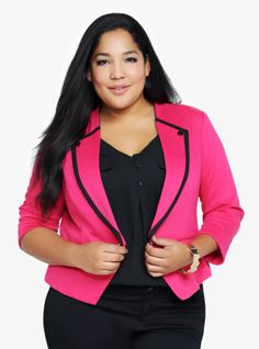 In a vibrant shade of rose pink, this knit ponte blazer brings an effortless shock of color to your darker winter wardrobe - and then easily takes you all the way into spring. For contrast, we added black trim and buttons to the lapels.