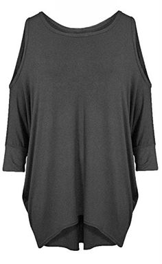 b236594faadc6 Re Tech UK Womens Ladies Cut Out Cold Shoulder Batwing Long Top Tunic Loose  Baggy Oversize
