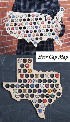 "Beer Cap Trap creates laser-cut wooden wall maps made to display the caps of your favorite local brews. An eye-catching, American-made gift for craft beer lovers and anyone who likes to ""drink local."" Available in the shape of each U. Resin Crafts, Diy Crafts, Bottle Cap Art, Beer Bottle, Bottle Cap Table, Diy Inspiration, Beer Caps, Diy Gifts For Boyfriend, Dremel"