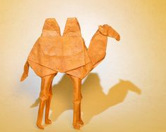Designed and folded by James Lucas from one uncut irregular hexagon of lokta treated with methylcellulose Bactrian Camel, Origami Tutorial, Origami Art, Japanese Art, Paper Art, Tutorials, Animals, Deviantart, Animales