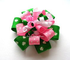 Shamrock Hair Bow - Flower Loop Korker - Pink and Green St. Patrick's Day Bow. $6.00, via Simple Design Bows on Etsy.